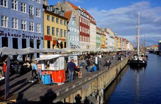Waterfront and popular Cafes of beautiful Copenhagen.