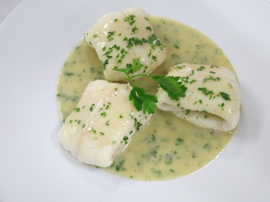 Poached Lemon Sole in Bercy Sauce