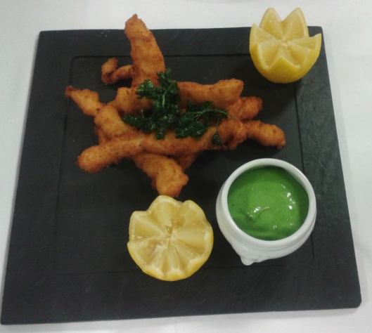 Deep Fried Sole strips with Green Mayonnaise.